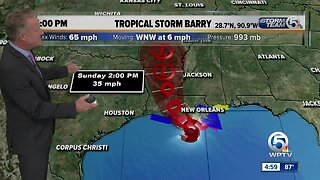 UPDATE: Tropical Storm Barry heads toward Louisiana with 65 mph winds, expected to be hurricane by landfall