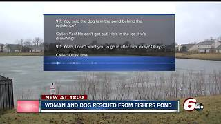 Frantic call from Fishers woman after her dog falls through the ice - Video