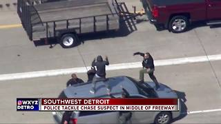 Police chase ends when officers tackle suspect on I-75 - Video