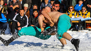 Turkish Wrestlers Have Their OWN Winter Olympics in the Snow - Video