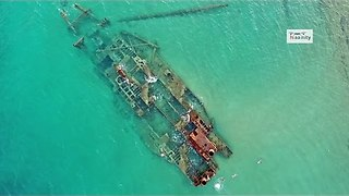 Drone in Greece captures magnificent footage of shipwreck - Video