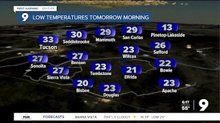 Overnight lows drop close to freezing