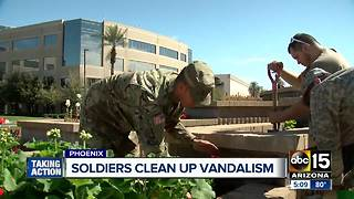 Soldiers help restore vandalized memorial in Phoenix