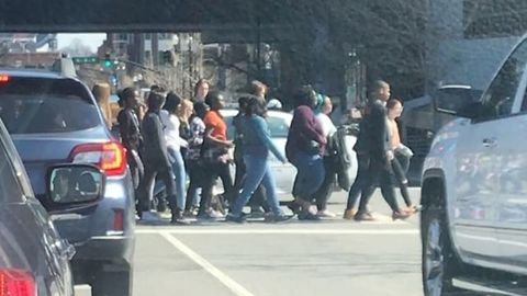 Traffic in Nashville Stops to Let Student Protesters Pass