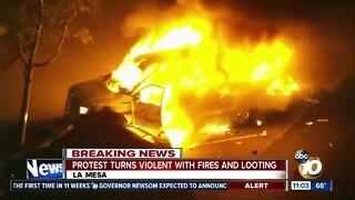 La Mesa protest turns violent with fires and looting