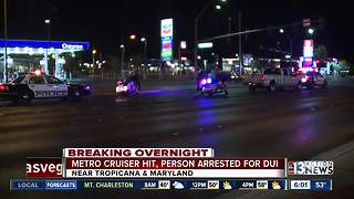 Las Vegas police car hit by another car - Video