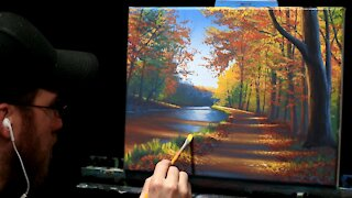 Acrylic Landscape Painting of an Autumn Path - Time Lapse - Artist Timothy Stanford