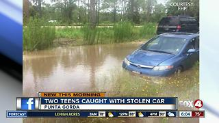 Teens drive stolen car into water in Punta Gorda - Video