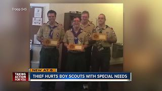 Thieves steal supplies from special needs Boy Scouts outside church