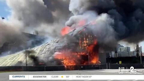 Fire breaks out at Domino Sugar facility in Baltimore