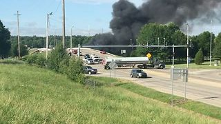 Truck Hits Bridge and Bursts Into Flames in Jonesboro, Arkansas - Video