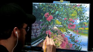 Acrylic Landscape Painting with Myrtle Tree - Time Lapse - Artist Timothy Stanford