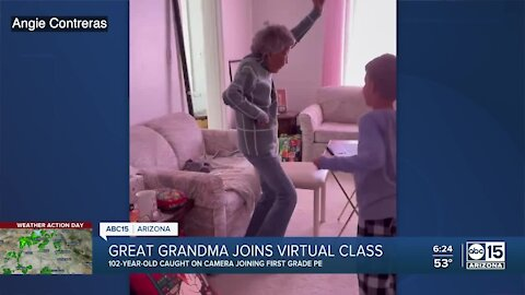 102-year-old great-grandma joins first grade PE class
