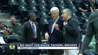 Former President Bill Clinton, among others, spotted at Bucks Game - Video