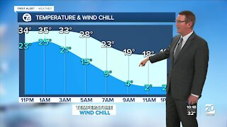 Snow moves out, cold moves in