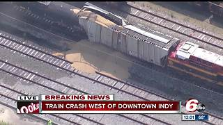 Train collides with railcars near downtown Indy - Video