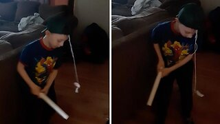 Inventive Kid Finds Hilarious Way To Train For Baseball Indoors