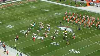 Denver Broncos Cheerleader Turns Into Dancing Dinosaur - Video