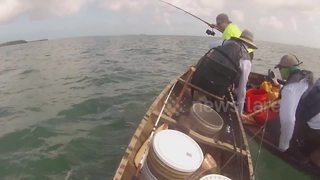 Huge Shark Repeatedly Attacks Fishermen In Canoe - Video