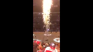 Stray sparkler flies close to audience after New Year's Eve Avalanche game