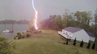 Lightning strike captured on Glen Burnie security camera