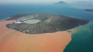 Aerial Footage Captures Krakatau in Indonesia