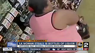 Not so sneaky woman tries to steal 18 bottles of liquor - Video