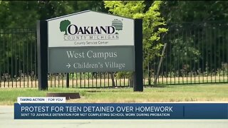 Protest for teen detained over not completing homework