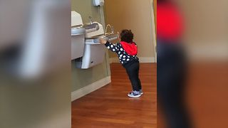Short Kid's Water Fountain Struggles - Video