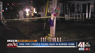 Vigil held for three people found dead in burned home - Video