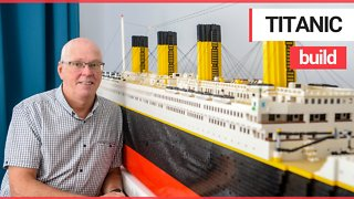 Grandfather has created an incredible replica of the Titanic - with 40,000 LEGO BRICKS.