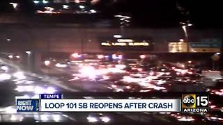 Roads reopened after crash on Loop 101 near University - Video
