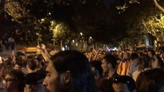 Protesters March in Barcelona Following Arrests Over Referendum - Video