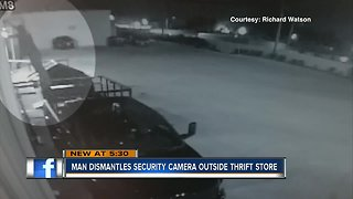 Man captured on video stealing security camera, rummaging through hospice donations