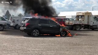 Vehicle with mechanical fault catches fire in parking lot