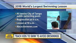 City of Tampa public swimming pools participate in World's Largest Swimming Lesson - Video