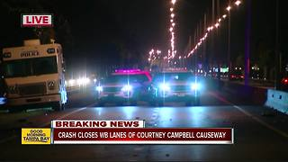 WB Courtney Campbell Causeway is shut down due to serious crash - Video