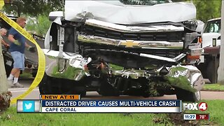 Distracted driver plows into a power pole in Cape Coral