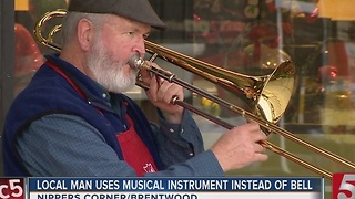 Volunteer Plays Trombone Instead Of Ringing Bell - Video