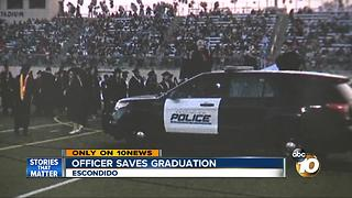 Police officer's quick thinking helps save high school's graduation ceremony - Video