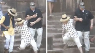 Hillary Clinton Almost Falls Down Steps, Twice! - Video