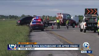 1 person critical after I-95 crash in Hobe Sound