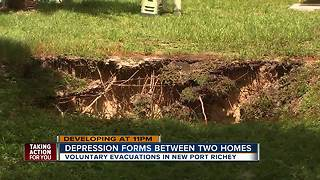 15-foot depression opens up in Pasco County, 4 homes voluntarily evacuated
