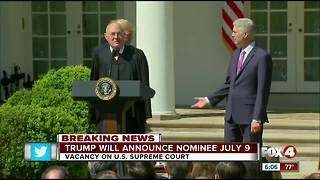 Trump considering two women for Supreme Court; will announce pick July 9 - Video