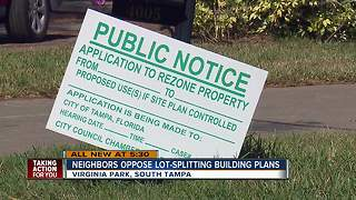 Homeowners against lot-splitting in South Tampa neighborhood - Video