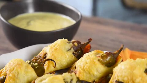 Gratinated Lined Chilis and Mustard Sauce