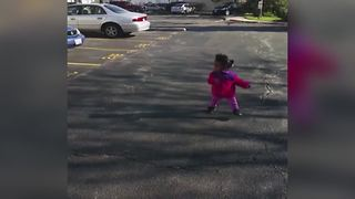 Funny Tot Girl Runs Away From Her Own Shadow - Video
