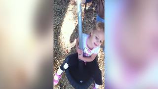 Tot Girl Can't Stand On Her Feet After Spinning On A Roundabout