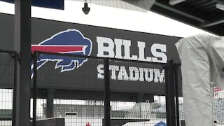 Bills fans react to fans in the stands