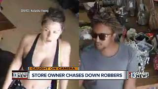 Store owner seen on surveillance camera chasing down thieves